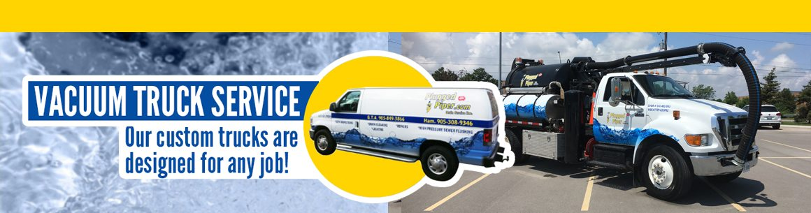 Custom trucks designed for any plumbing service in Halton region